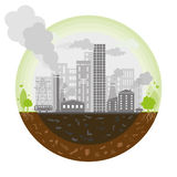 Polluted earth. The worlds pollution and green space  describing the studys very little left Royalty Free Stock Photo