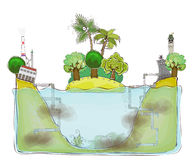 Polluted environment background, Happy world collection stock illustration