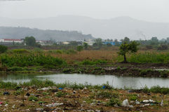 Polluted Landscape and Rain Royalty Free Stock Image