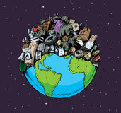 Polluted Planet. Cartoon of a polluted planet Stock Photo