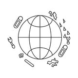 Polluted planet icon, outline style Royalty Free Stock Image