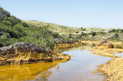 Polluted river. Detail of polluted river by chemicals near an abandoned mine Royalty Free Stock Images