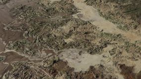 Polluted river bank. ecological disaster.  stock video footage