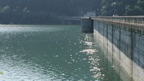 Polluted river near the dam. Floating Plastic bottles in a polluted river water stock footage