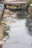 Polluted River with rubbish in bangkok Thailand stock images