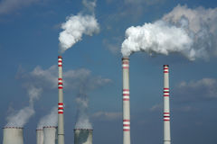 Polluted smoke from coal power plant Royalty Free Stock Image