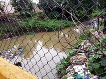 Polluted stream in Santo Domingo stock photography