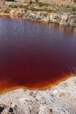 Polluted water. Pond in the abandoned mine of Lousal, Grandola, Portugal Stock Image