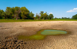 Polluted water and cracked soil of dried out lake Stock Photos