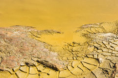 Polluted water detail. Detail of polluted water by chemicals in an abandoned mine Stock Photo