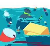 Polluted water. Fishes dirty river with trash and plastic. Freshwater pollution vector concept. Illustration of dirty trash in water river, polluted ocean or royalty free illustration