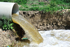 Polluted water overflow from sewage Royalty Free Stock Photos