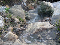 Polluted water in rubish filled gorge Stock Photo