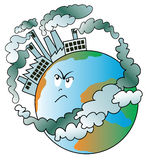 Polluted world. Illustration that shows our planet covered with angry because polluting factories Royalty Free Stock Image