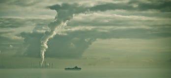 Polluting air port of Rotterdam. Stock Photo