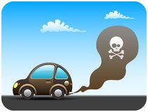 Polluting car. Dirty environment polluting car with  pollutant emissions Stock Image