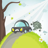 Polluting car. Saveyour planet! EPS. Full editable Royalty Free Stock Photo