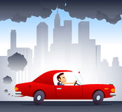 Polluting car in the city. Polluting environment car driven by smiling and confident man. City background  illustration cartoon Royalty Free Stock Photos