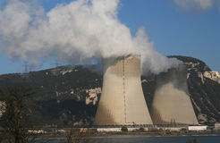 Big polluting factory. Smoke from the factory in southern France Stock Images
