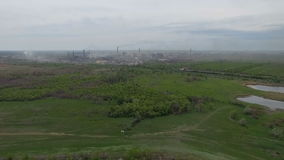 Polluting factory air shot. stock footage
