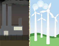 Polluting factoy and green wind turbines Stock Photos