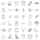 Polluting icons set, outline style. Polluting icons set. Outline style of 36 polluting vector icons for web isolated on white background Royalty Free Stock Images