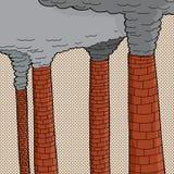 Polluting Smoke Stacks. Four old brick cartoon factory smokestacks polluting Stock Photo