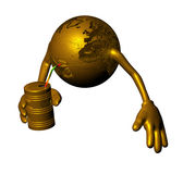 Pollution. A 3D funny golden globe isolated on a white background drinking from petroleum tank stock illustration