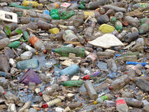 Pollution. Image of a polluted River full of rubbish stock photo