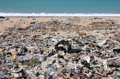 Pollution. The tragedy of environmental waste at the seashore Stock Photos