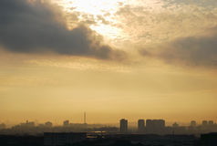 Pollution. A photo taken on a polluted sky during sunrise Stock Photos