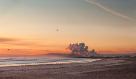 Pollution. Heavy industrial pollution, early in the morning royalty free stock photography