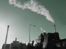 Pollution. Chemical industry with smoke from chimney Royalty Free Stock Images