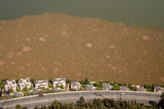 Pollution from aerial in lake,Kunming city,China. Stock Photography
