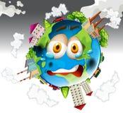Pollution atmosphérique des usines sur terre illustration de vecteur