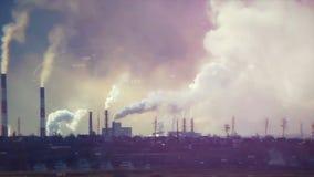 Pollution atmosphérique Problèmes environnementaux barre Émissions néfastes cheminée industrielle, émissions à l'environnement ma Photo stock