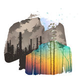 Pollution. Of the atmosphere, bright colors, illustration vector illustration