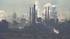Pollution of the Atmosphere by an Industrial Enterprise of the Metallurgical Industry. stock footage