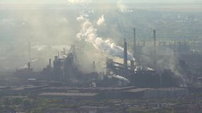 Pollution of the atmosphere by an industrial enterprise of the metallurgical industry. stock video footage