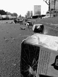 Pollution. Bad human behavior to polute our environment Stock Photos