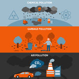 Pollution Banners Set Royalty Free Stock Images