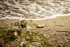 Pollution on the beach,  paper texture Royalty Free Stock Images