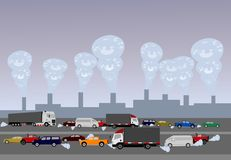 Pollution caused by cars on roads and industrial plants. In cities around the world stock illustration