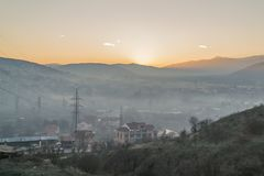Pollution in the city. High concentrate smoke in the polluted industrial city Veles Macedonia Royalty Free Stock Photos