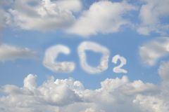 CO2 written with clouds royalty free stock photography