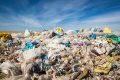 Free Pollution Concept Garbage Pile In Trash, Waste Dump Or A Landfill, Waste From Household, Global Warning Stock Images - 183024634