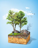 Pollution concept. Piece of ground with tree and green grass full of dirt trash. Ecology. 3d illustration Royalty Free Stock Photography