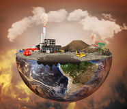Pollution concept. Plant, machinery, petroleum, emissions, dirty air, landfill. Plant with vulcans and oil spot on the half of planet.  Save the planet Stock Photos