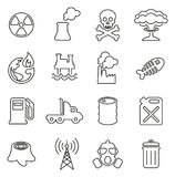 Pollution or Contamination Icons Thin Line Vector Illustration Set. This image is a vector illustration and can be scaled to any size without loss of resolution Stock Photos