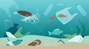 Pollution d'océan et son impact sur l'écosystème illustration libre de droits